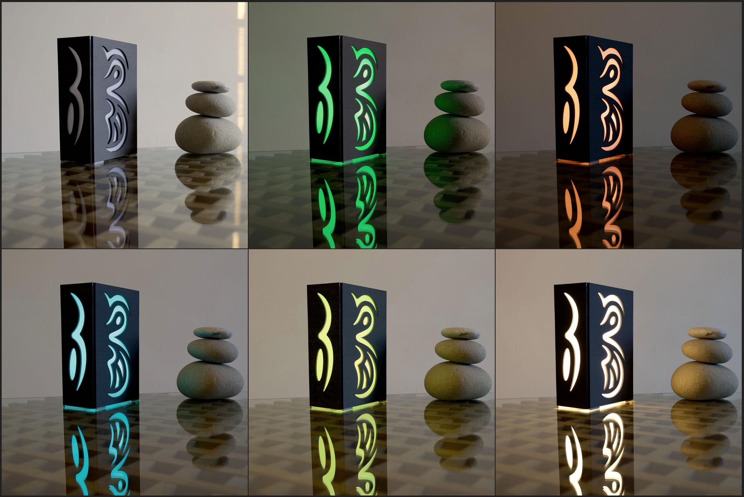 """""""Scatole di luce"""", create artigianalmente con lastre in Ardesia Ligure dallo spessore di 1 cm, con finitura levigata"""